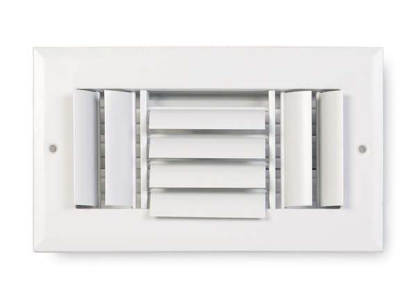 283 Series Aluminum Curved Blade 3-Way Sidewall/Ceiling Register
